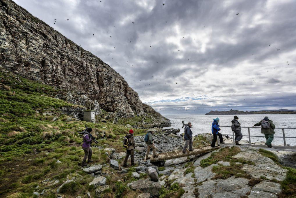 Det lille bygget i bakgrunnen er et toalett. Fasilitetene er i orden på Hornøya for fuglekikkerne.